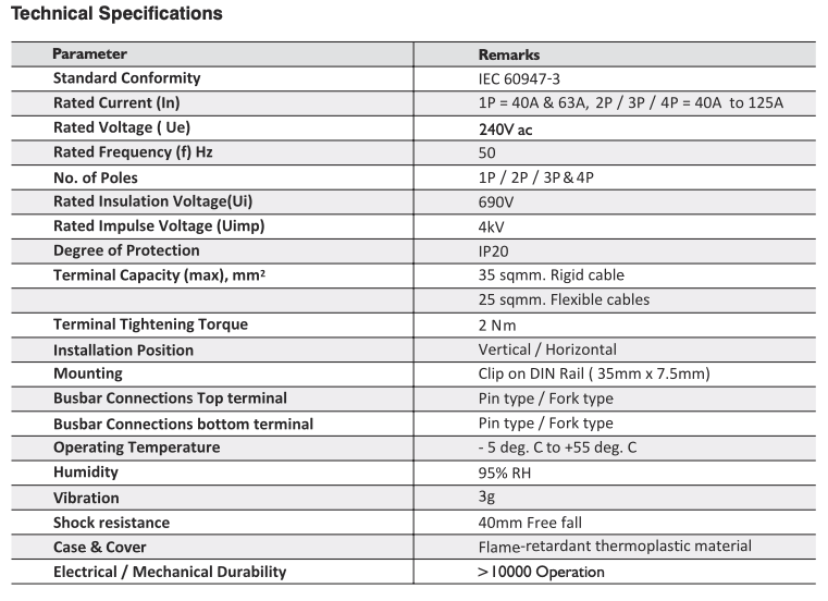 Polycab isolator technical specification